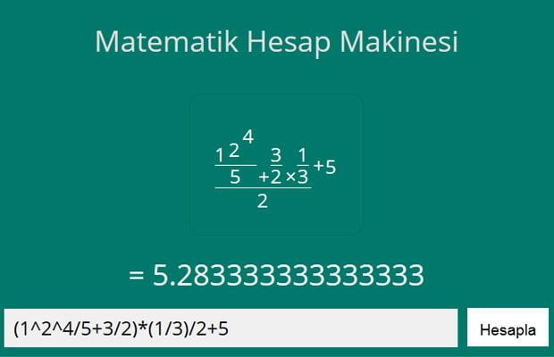 Matematik Hesap Makinesi | Kesirli Hesaplar